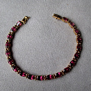 14k Gold and Rhodolite Garnet Tennis Bracelet