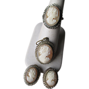 800 Silver Cameo Set - Ring, Pendant, Earrings