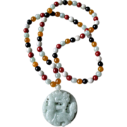 Carved Jade Pendant with Multi-Colored Jade Necklace