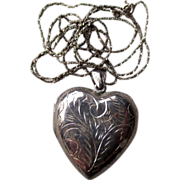 Engraved Heart Shape Sterling Silver Locket