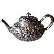 Stunning Whiting Sterling Silver Repousse Teapot