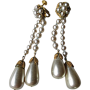 Signed Miriam Haskell Dangle Faux Pearl Earrings
