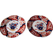 Matched Pair of Antique Japanese Imari  Plates