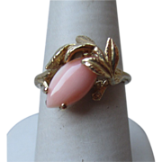 10k Gold and Pink Coral Ring