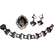 Vintage Siam Sterling Bracelet, Pin, & Earrings for Birks