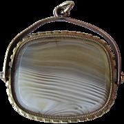 10k Gold Banded Agate Swivel Pendant / Fob