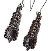 Sterling Silver and Garnet Dangle Earrings