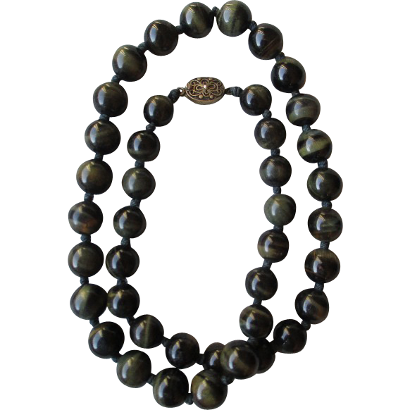 Stunning Green Tiger Eye Bead Necklace