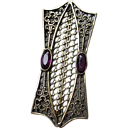 Victorian Amethyst Filigree Pin or Brooch