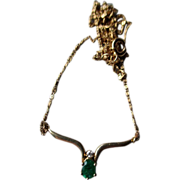 14k Gold and Emerald Necklace