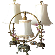 Vintage Three Piece French Boudoir Lamp Set