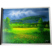 Original Jon Rattenbury Acrylic Painting - Grey Sky Meadow