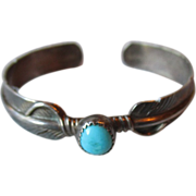 Native American Sterling Feather & Turquoise Bracelet