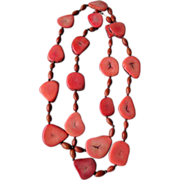 Cross Cut Coral Necklace