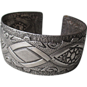 900 Silver Ornate Embossed Cuff Bracelet