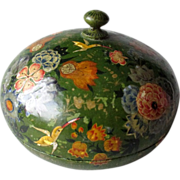 Beautiful Round Lacquer Box with Flowers
