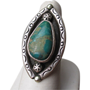 Gorgeous Sterling Silver and Green Turquoise Ring