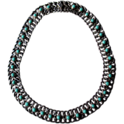 Mexican Sterling Silver and Turquoise Link Style Necklace
