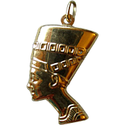 18k Gold Egyptian Head Pendant / Charm