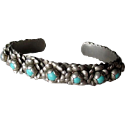 Beautiful Mexican Silver and Turquoise Flower Cuff Bracelet