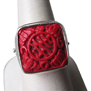 Fabulous Sterling Silver and Cinnabar Ring