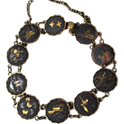 Fun Vintage Niello Ware Link Bracelet