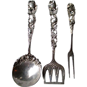 Three Piece German 800 Silver Ornate Serving Set