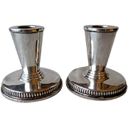 Great Matched Pair Sterling Weighted Art Deco Candle Holders