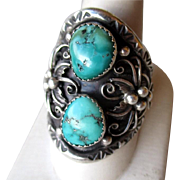 Stunning Sterling and Turquoise Men's Ring
