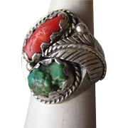 Handmade Silver with Turquoise and Coral Ring