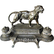 Signed French Bronze Ink Stand - Mountain Lion