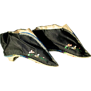 Antique Chinese Bound Foot Lotus Shoes - Black