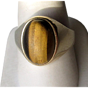 Great Men's 10k Gold and Tiger Eye Ring