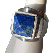 "Fabulous Vintage Silver and Lapis ""Pyramid"" Men's Ring"