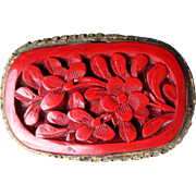"Beautiful Vintage Cinnabar Pin - Marked ""China"""