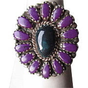 Beautiful Signed Sterling Silver with Black Onyx and Sugilite Ring