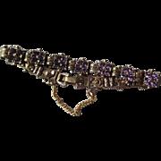 Fabulous Vintage Gold Tone with Amethyst Costume Bracelet