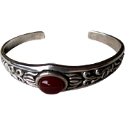 Gorgeous Sterling Silver and Carnelian Cuff Style Bracelet