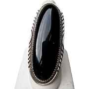 Stunning Large Sterling Silver and Black onyx Ring