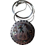 """Los Ballesteros"" Taxco Sterling and Abalone Pendant Necklace"
