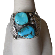 Great Sand Cast Silver and Turquoise Ring