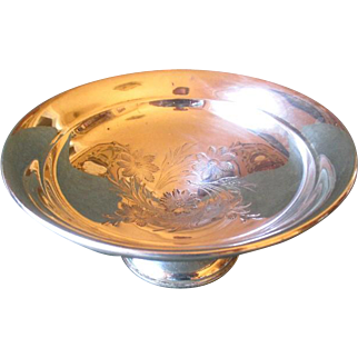 Reed & Barton Weighted Sterling Silver Compote with Embossed Flowers