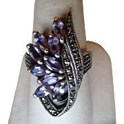 Stunning Sterling Silver and Amethyst with Marcasite Ring