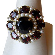 Gorgeous 14k Gold and Garnet with Seed Pearl Ring