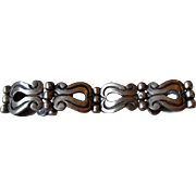 Early Taxco Mexico Stylized Sterling Silver Bracelet