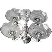 Frank M. WhitingSterling Weighted Five LIght Candelabra with Glass Inserts