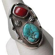 Great Vintage Sand Cast Turquoise and Coral Ring