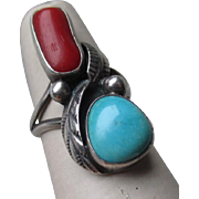 Great Signed Sterling Sivler and Turquoise with Coral Ring