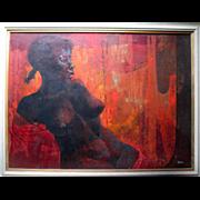 "Fantastic ""Harold Neal (1930-)"" Oil Painting on Masonite - Bathsheba"