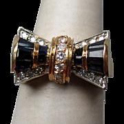 Stunning 18k Gold Sapphire and Diamond Art Dec Bow Ring